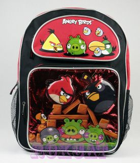 ANGRY BIRD BLACK RED 3D BACKPACK LARGE SCHOOL BACKPACK BAG ROKCAT
