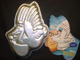 Wilton STORK cake pan Baby Shower BOY GIRL mold tin INSERT Good News
