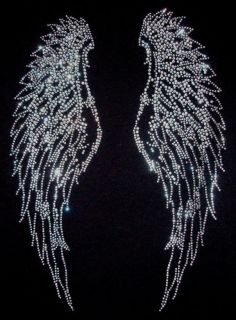 RHINESTONE ANGEL WINGS LONG SLEEVE JUNIOR SIZE T SHIRT, BLACK SIZE S