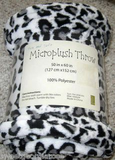 COZY PLUSH Throw Blanket CHEETAH Leopard Black White Kids ANIMAL PRINT