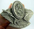 VTG OLD MICHIGAN SAINT CHRISTOPHER ANGEL WINGS PIN CLIP