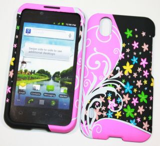 Boost Mobile LG Marquee Star Flowers Rubberized Hard Cell Phone Shell