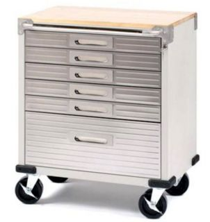 New Stainless Steel 6 Drawer Rolling Tool Chest Box Cabinet WOOD TOP