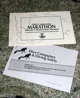 Orca Marathon Owners Manual in Excellent Condition