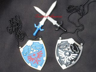 Legend of Master Zelda Mini Hylian Shield Sword Set BOTH Blue & Dark