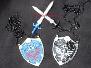 Legend of Master Zelda Mini Hylian Shield Sword Set BOTH Blue & Dark