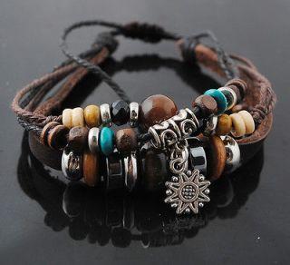 1Pcs Womens Mens Cord Bracelet Hemp Surfer &Braided Leather Wristband
