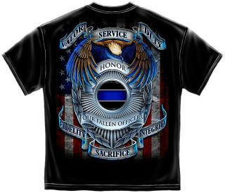 POLICE LAW ENFORCEMENT OFFICER AMERICAN FLAG EAGLE SHIELD T SHIRT S M