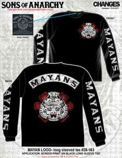 SONS OF ANARCHY MAYANS RIVAL GANG MOTORCYCLE SOA BIKER LONG SLEEVE