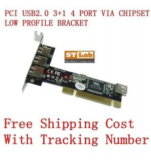 NEW PCI USB2.0 3+1 4 PORTS CARD VIA CHIPSET LOW PROFILE BRACKET WORK
