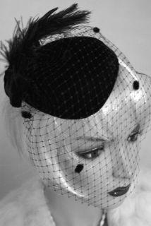 Vintage 1940s 50s Style BLACK VELVET Veil Dress HAT Ascot Wedding