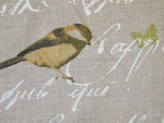 Designer Fabric French Linen Garden Birds Script Natural Curtain