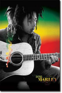 BOB MARLEY POSTER 22x34 SPLIFF SMOKING A JOINT MARIJUANA RASTA FLAG