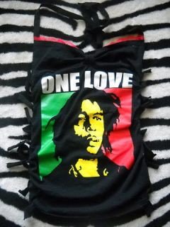 diy BOB MARLEY halter top/ dress with ties up the side size small
