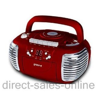 GVPS813RD Red Retro Boombox AM/FM Radio Portable CD & Cassette Player