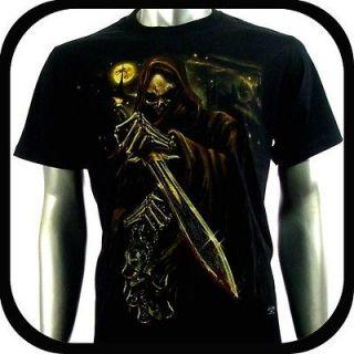 RC Survivor T Shirt Biker Punk Tattoo C99 Sz L Indie Rock Glow In The