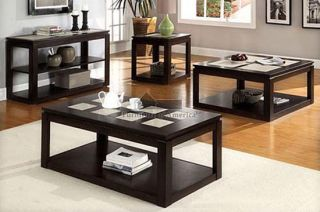 NEW 3PC VERONA TILE ESPRESSO WOOD COFFEE END TABLE SET