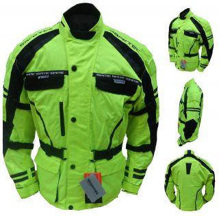 Motor Cycle Bike Wind/Waterproof Cordura Racing Jacket   HI VIZ