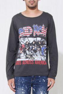 SKID ROW WORLD TOUR Mens Long Sleeve Gray Rock T shirt