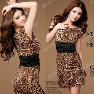 Mini Party Neck Leopard print Clubwear Business Clubbing Dress Women