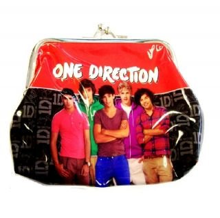 NEW OFFICIAL ONE DIRECTION 1D BLACK RED CLIP COIN PURSE WALLET HOLDER