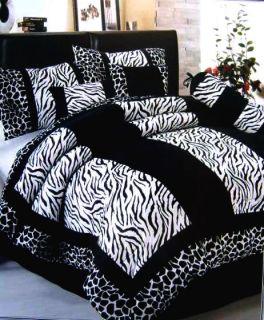Newly listed 7 Pcs Black White Zebra Giraffe Velvet Comforter Set Bed