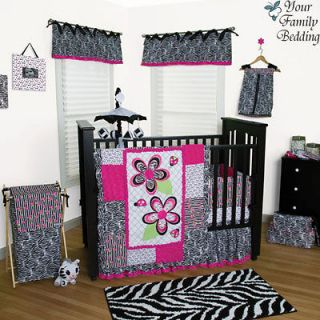 Black White Pink Zebra Print Flower Baby Girl Crib Nursery Blanket