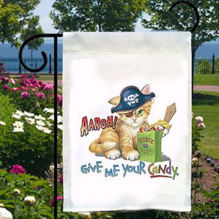 Aargh Give Me Your Candy Pirate CAT New Small Garden Flag Free Ship US