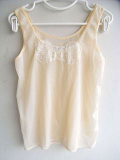 Sissy Ivory Sheer Nylon Blouse Tank Top Singlet Sleeveless Floral Lace