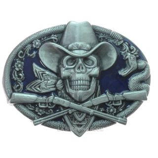 Metal Belt Buckle Snake Arounded Cowboy Skull Smilling w/ Guns Free