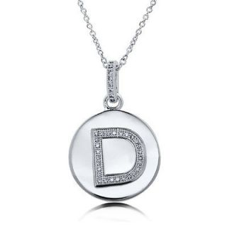micro pave cubic zirconia sterling silver initial letter d pendant