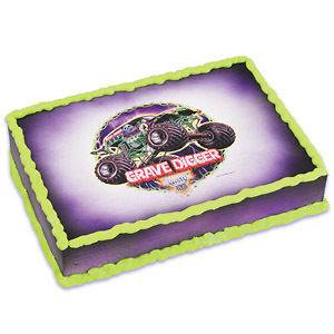 Edible Monster Jam cake decorating image birthday Grave Digger topper