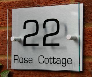 MODERN HOUSE NUMBER SIGN/PLAQUE * Aluminium & Acrylic*