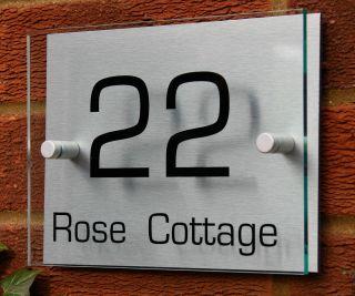MODERN HOUSE NUMBER SIGN/PLAQUE * Aluminium & Acrylic*