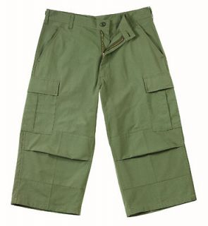 MENS BDU CARGO CAPRI PANTS 1000% COTTON , OLIVE DRAB