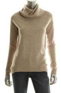 Wyatt NEW Beige Cashmere Long Sleeve Ribbed Trim Turtleneck Sweater