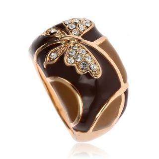 butterfly brown enamel Cocktail Fashion Ring GP Swarovski Crystal