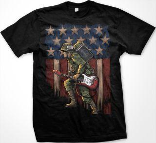 American Flag Guitar Music Soldier Vietnam War Armed Forces Mens T