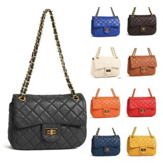 Colored Gold Chain Quilted Shoulder Crossbody Bags Handbags Purse