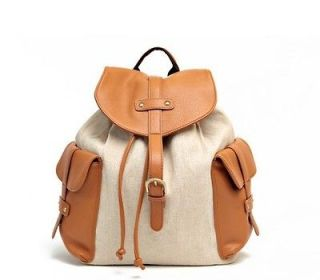 Women travel girl school bag casual Rucksack Brown Canvas cute