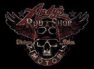 ROD SHOP VINTAGE MOTOR CYCLES CUSTOM SCREEN PRINTED BLACK TEE SHIRT