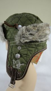 NWT TRUE RELIGION BRAND HEADWEAR Quilted Faux Fur Trapper Hat Army