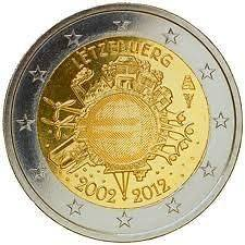 Luxembourg 2 Euro Coin 2012   10 years of Euro