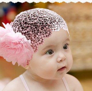 Girl Toddler Baby Flower Lace Headband Hairband Hair Bow Headwear Pink