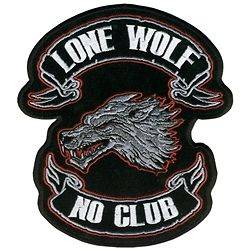 LONE WOLF NO CLUB Embroidered Patch Jacket/Vest Biker 2225