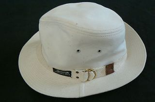 Original Captain Jack fedora off white canvas cotton hat med made in