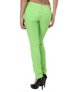 Bright Lime Green Premium Skinny Jeans Shredded Distressed Slim Fit