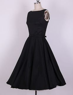 50s Audrey Hepburn Style Black Dress Size L Pinup Vintage Swing