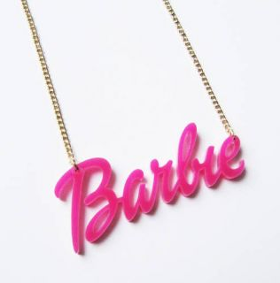 Kitsch cute acrylic perspex pink BARBIE name necklace