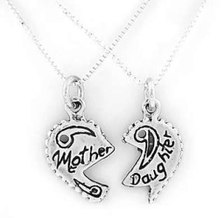 SILVER MOTHER DAUGHTER SPLIT CHARM & 2 SILVER NECKLACES